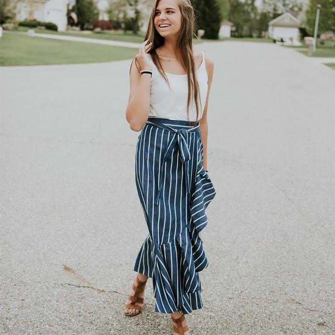 Chambray Maxi Skirt (2 Color)