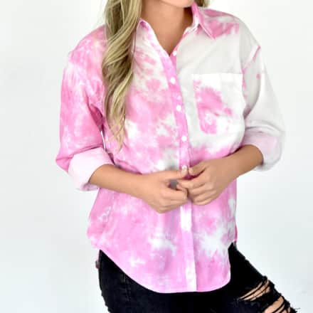 Tie Dye Button Shirt With Pocket
