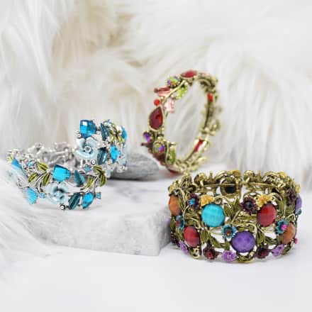 Premium Leaf & Flower Metal Bracelet