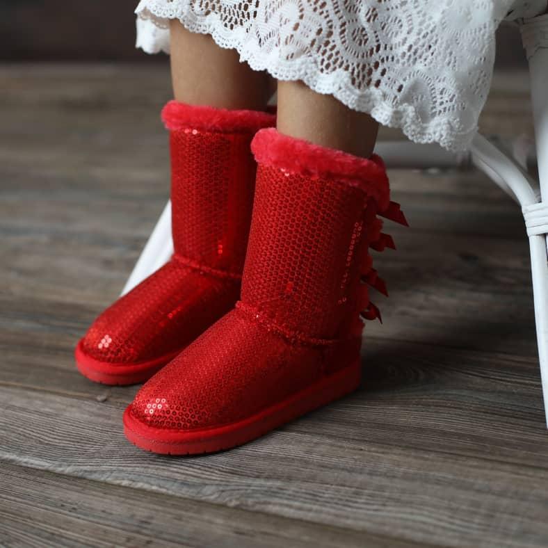 Sz 1 Girls Super Cute Comfy Warm Furry Snow Boots w// Ribbon Pompon Blue