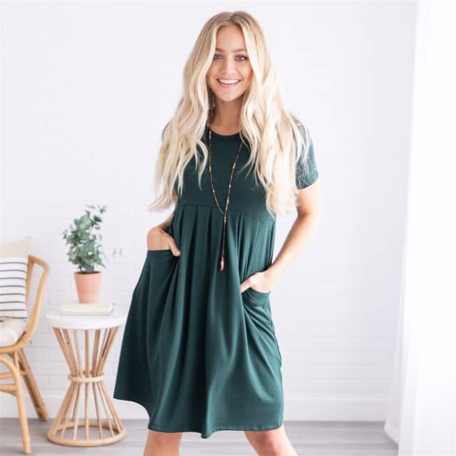 826861a77b Dresses. Aria Pleated Short Sleeve Midi