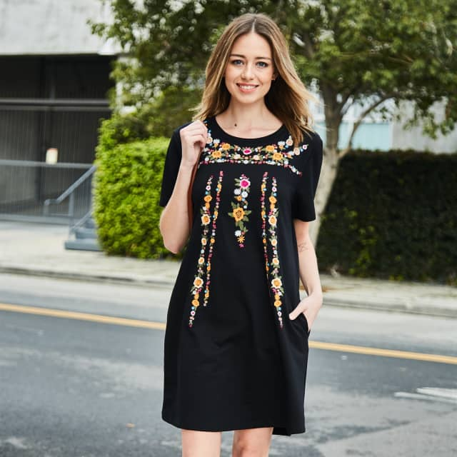 eb5bfc589d Embroidered Pocket Dress