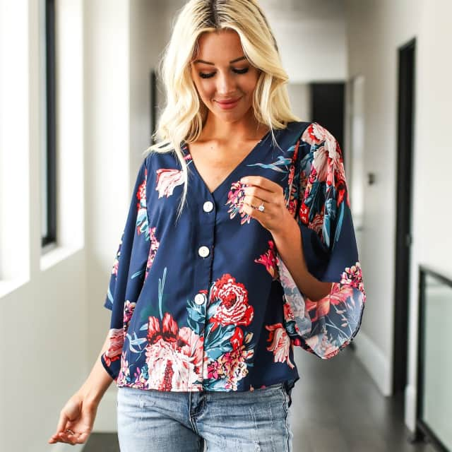 Water Color Floral Button Blouse
