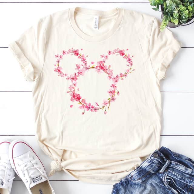 Floral Mickey Mouse Tees