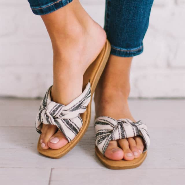 Striped Knotted Sandals