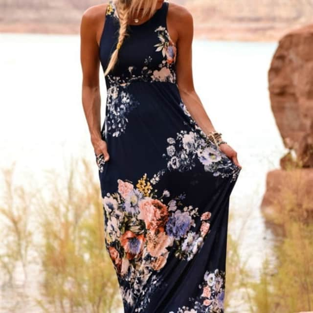 1ed680a997 Floral High Waist Maxi Dress