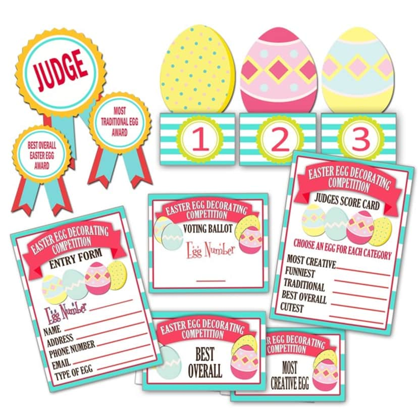 Printable Easter Egg Contest Forms Packet | Free Shipping