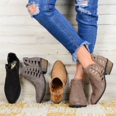 Was $84.99 - Now $26.99 - Side Slit Cut-Out Booties (10/11 to 10/17)