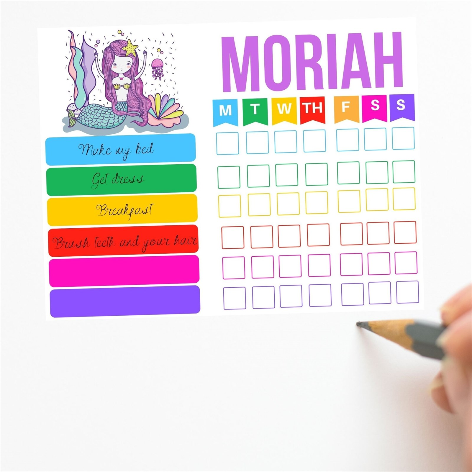 Custom Kids Daily Routine Planner Only $3.99