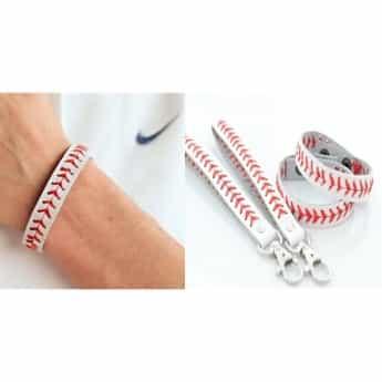 Leather Baseball Bracelet Out
