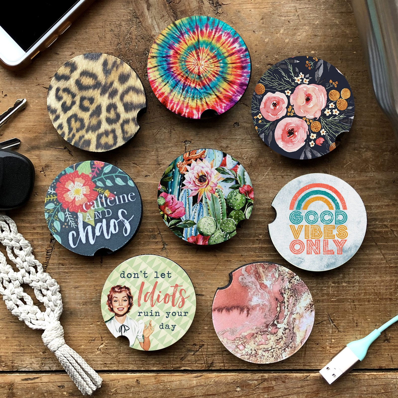Tupalatus Mandala Lotus Car Keychain Drink Cup Mat Set of 4 Pieces for Women Ladies Gifts,Car Accessories Coasters Prevent Your Car Interior from Dirty and Scratching