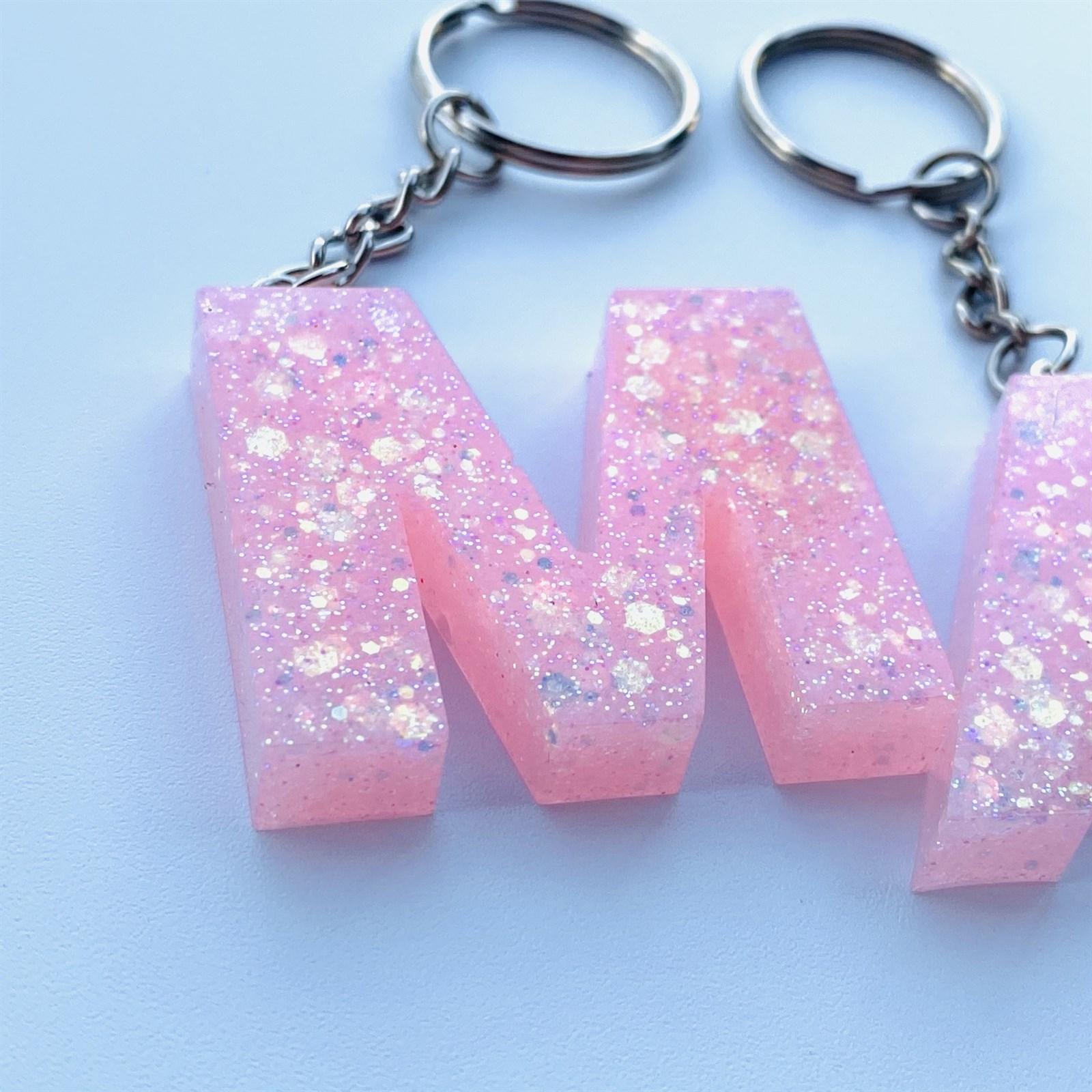 Pink sparkle keychain