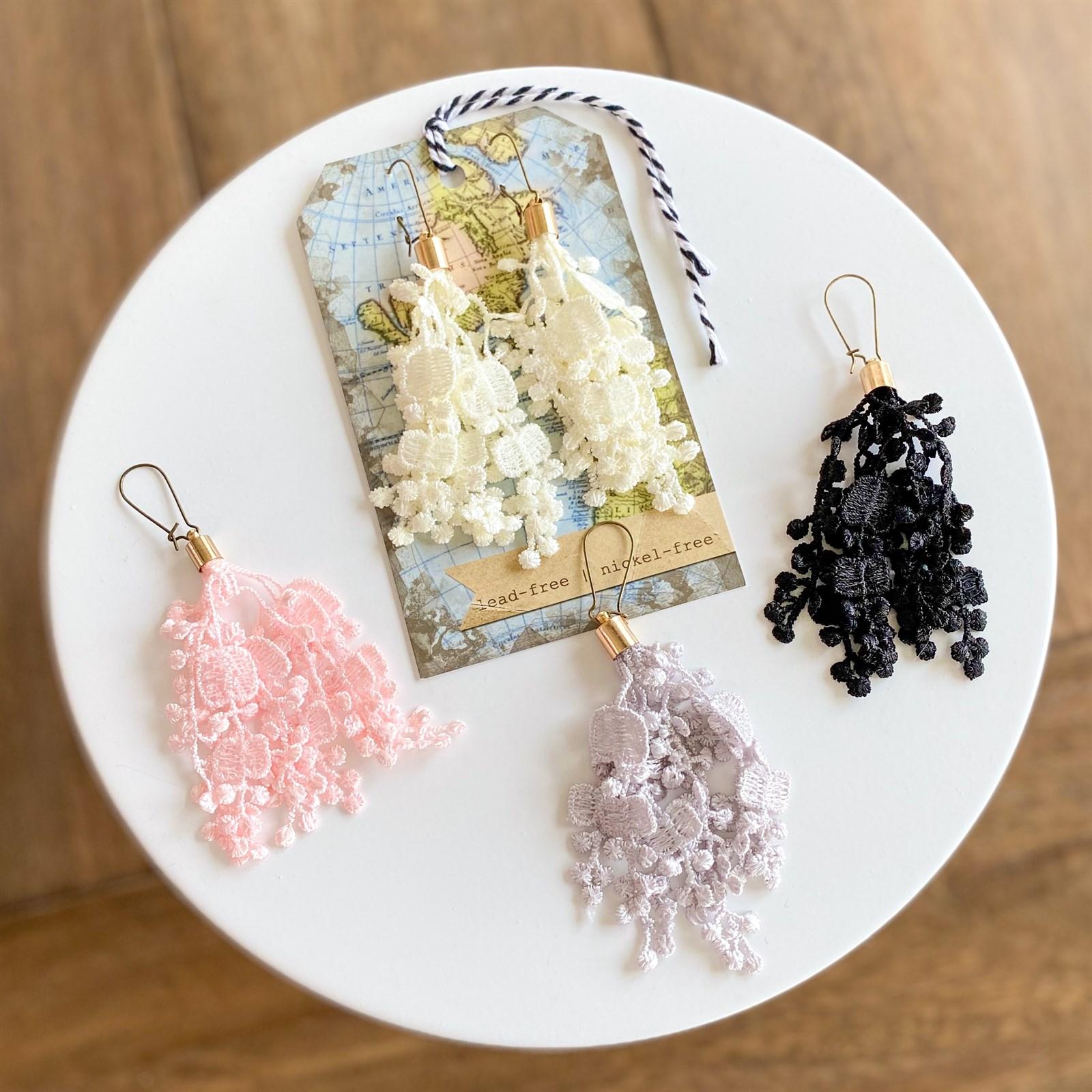 Vintage Crochet Lace Earrings / Beautiful Texture