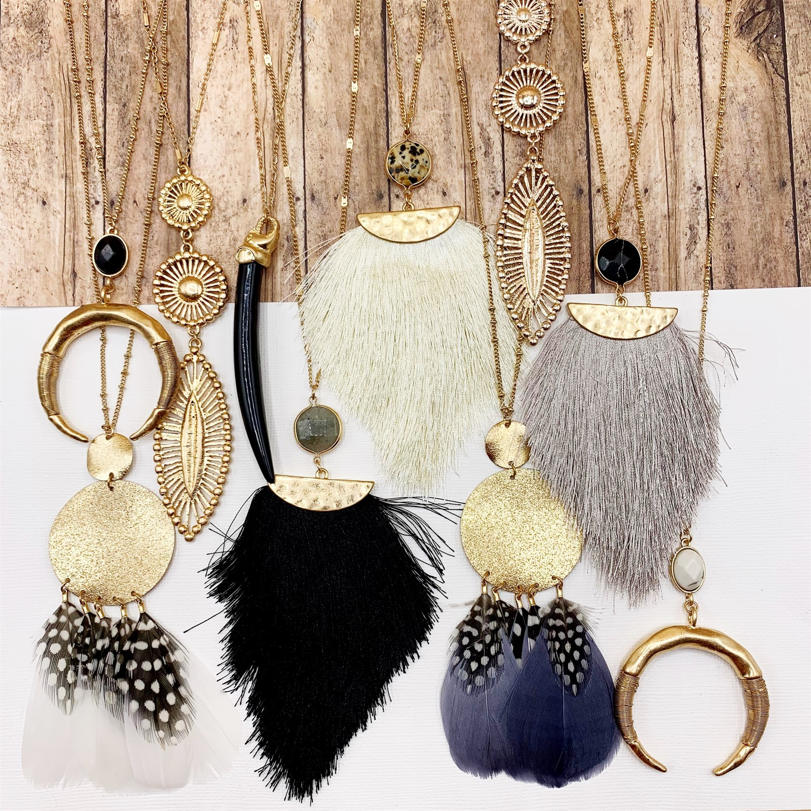 Warm Neutrals Long Necklace Collection