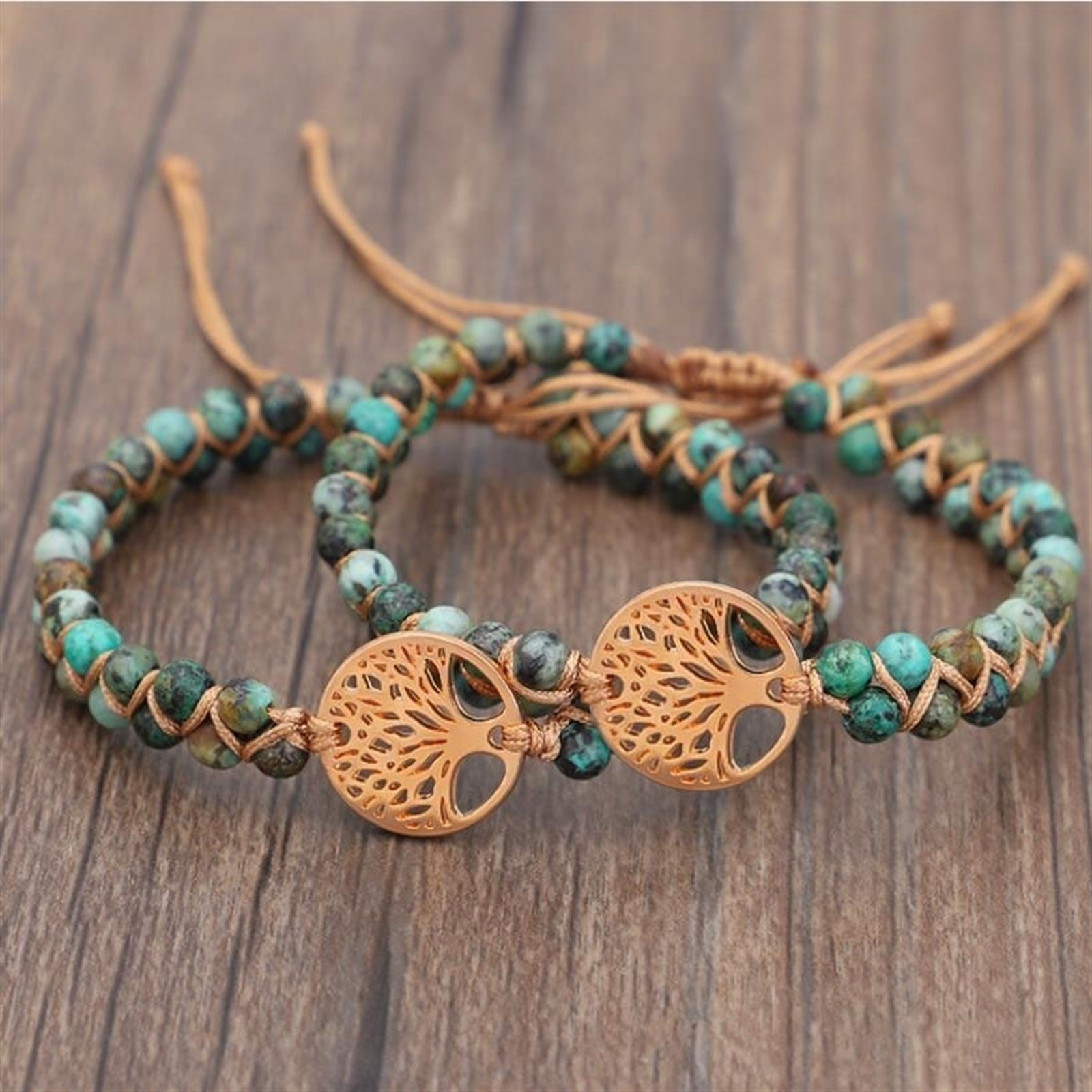 African Turquoise Tree of Life Charm Healing Bracelet