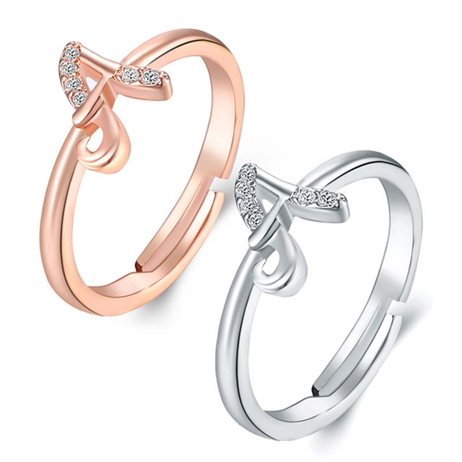 2 Pack Cubic Zirconia Initial Rings Only $7.99 w/ Free Shipping