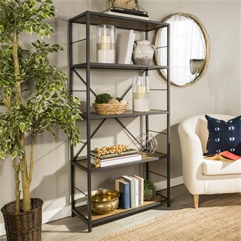 60 Rustic Metal And Wood Bookshelf