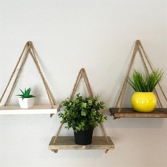 Wooden Rope Shelf Available in 11 Colors Only $12.98