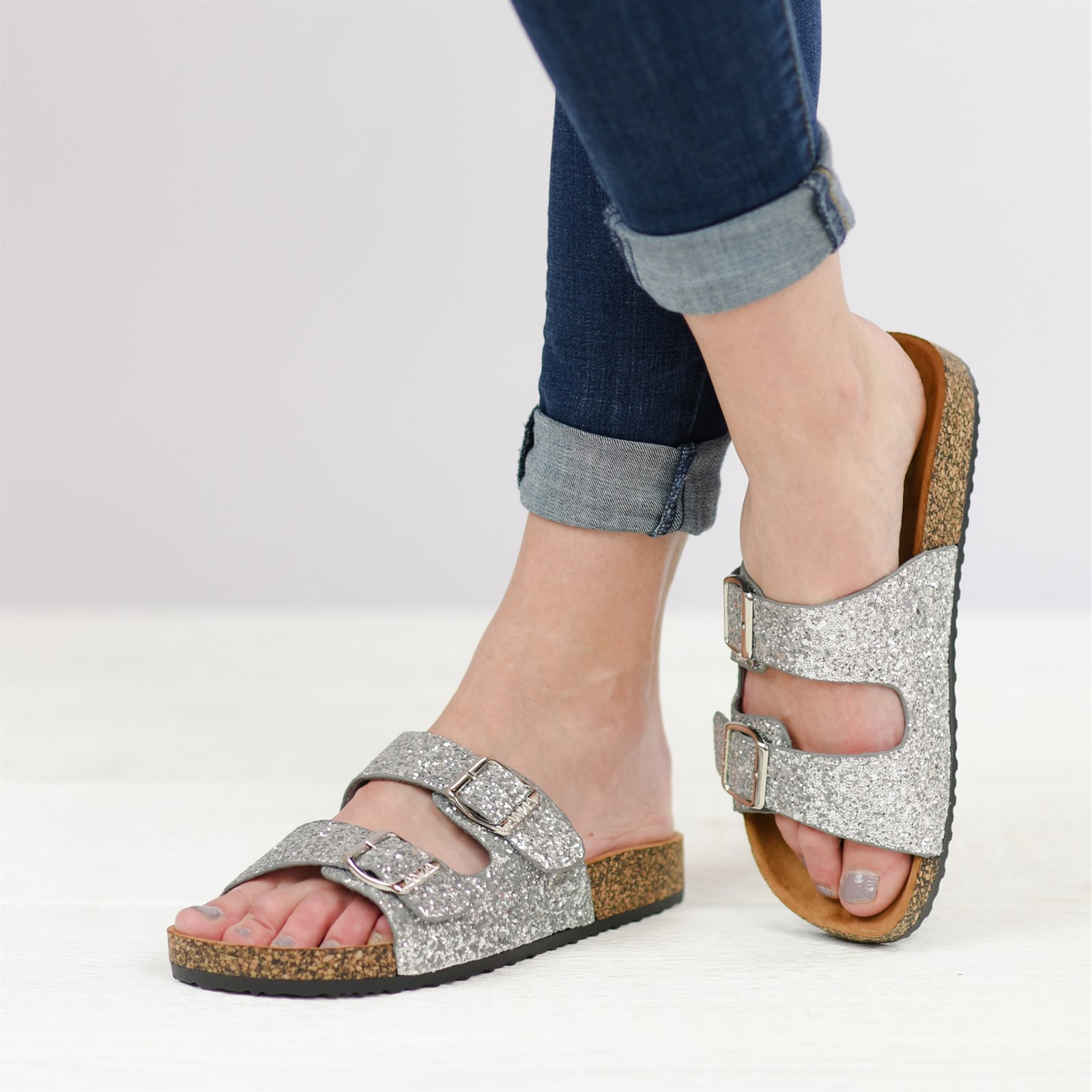 Slip-on Glitter Two-Strap Sandals | Jane