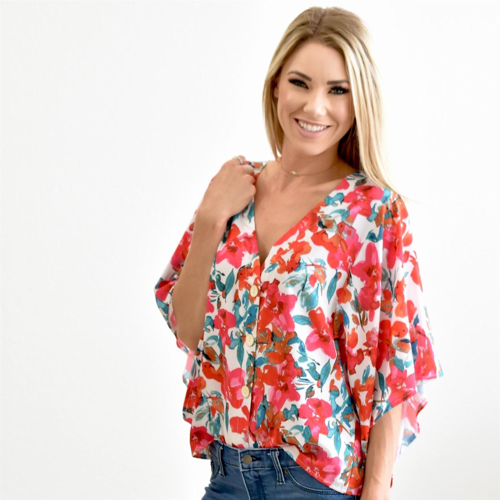 V Neck Floral Kimono Top