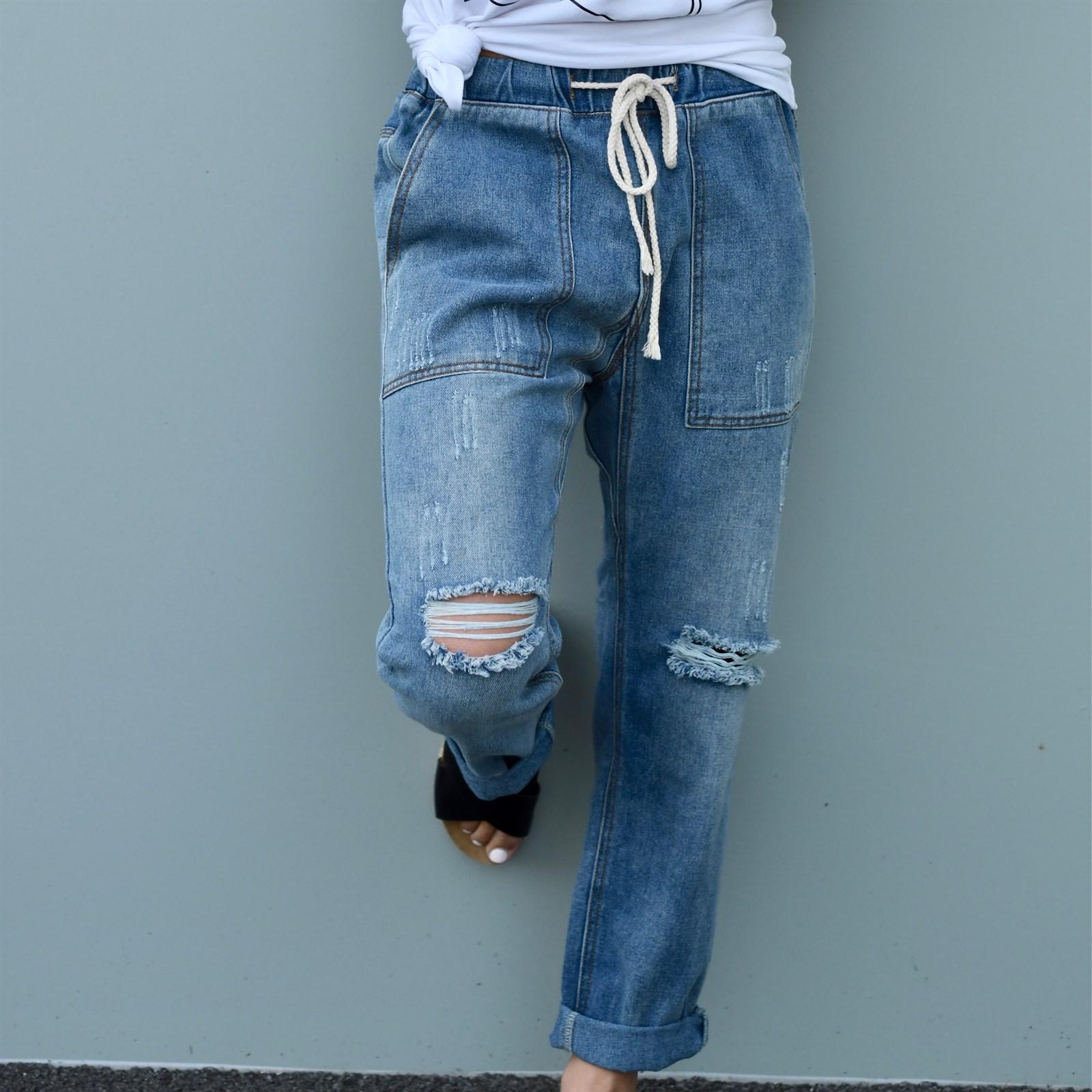 Drawstring Boyfriend Jeans